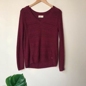 Hollister | V Neck Crochet Knit Sweater Red Small
